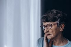 Senior suffering from depression Royalty Free Stock Image