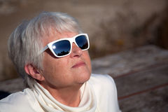 Senior Sun Seeker Royalty Free Stock Images