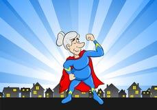Senior super heroine with cape. Vector illustration of a senior super heroine with cape Stock Photography