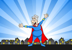 Senior super heroine with cape. Vector illustration of a senior super heroine with cape Royalty Free Stock Image