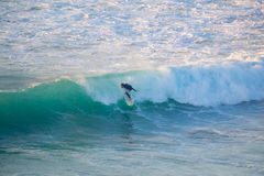 Senior surfer riding a perfect wave. La Pared, Spain - Dec 23, 2015:  Active sporty senior surfer riding perfect wave on La Pared beach, famous surfing Royalty Free Stock Image