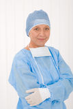 Senior surgeon female with operation clothes mask Stock Images