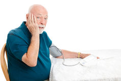 Senior Surprised by Blood Pressure Royalty Free Stock Images