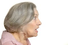 Senior surprised woman Stock Photography
