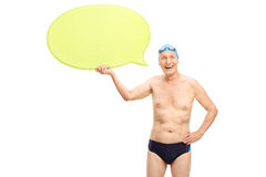 Senior swimmer holding a speech bubble Stock Image