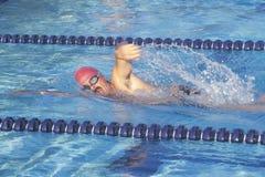Senior Swimming Practice,. Freestyle swimmer, Ojai, CA Stock Images