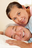 Senior Taiwanese couple resting Royalty Free Stock Image