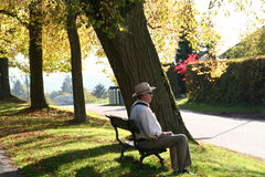 Senior taking rest on a bench Stock Image