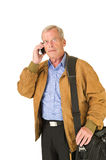 Senior talking on his smartphone Royalty Free Stock Photo