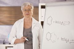 Senior teacher explaining molecular formulas Stock Images