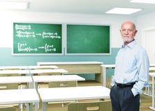 Senior teacher at school. Senior teacher in 3d classroom royalty free stock images