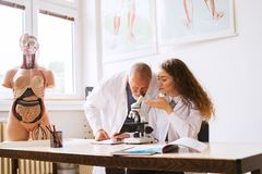 Senior teacher teaching biology to student in laboratory. royalty free stock image