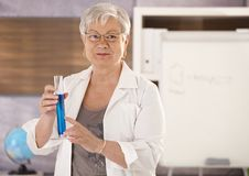 Senior teacher teaching chemistry Stock Photos