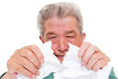 Senior tear up his bills. Senior is angry and tear up his bills stock images