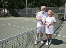 Senior Tennis with Copyspace Royalty Free Stock Photos
