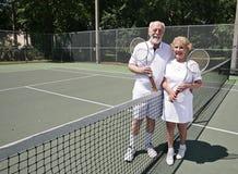 Senior Tennis with Copyspace Royalty Free Stock Photos