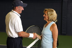 Senior Tennis Match Royalty Free Stock Images
