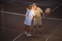 Senior tennis partners Stock Photo