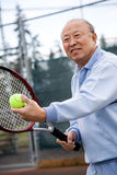Senior tennis player Stock Photo