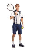Senior tennis player holding a racquet. Full length portrait of a senior tennis player holding a racquet and a ball isolated on white background Stock Photography