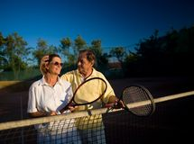 Senior tennis players Stock Image