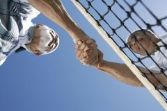 Senior Tennis Players Shaking Hands Royalty Free Stock Photos