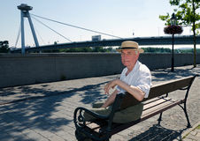 Senior to walk in sunny day Royalty Free Stock Images
