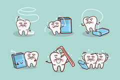 Senior Tooth Use Dental Floss Stock Photo