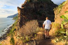Sunset hiking in Madeira stock photography