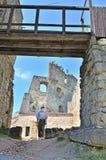 Senior tourist in Kamieniec Castle. Senior tourist visiting Kamieniec Castle in Odrzykon, Poland Stock Photography