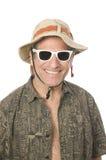 Senior tourist wearing funny hat sunglasses. Smiling middle age senior tourist male wearing sun hat and white sunglasses Royalty Free Stock Photo