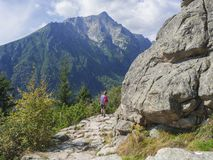 Senior tourist woman hiking at the beautiful nature trail at high tatra mountains in slovakia, summer sunny day royalty free stock images