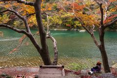 Tourist at Katsura river and enjoy autumn colors. Senior tourist woman sit near Katsura river to enjoy autumn foliage colors along lake in morning, Arashiyama Stock Photos