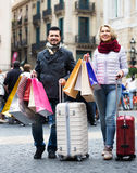 Senior tourists with shopping bags Royalty Free Stock Image