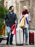 Senior tourists with shopping bags Stock Image
