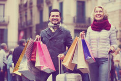 Senior tourists with shopping bags Stock Images
