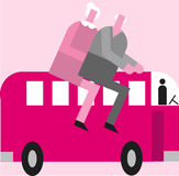 Senior transportation. An elderly couple ride atop a bus in an illustration for senior transportation Stock Images