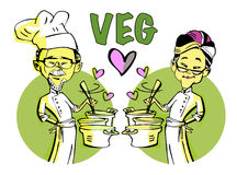 Senior vegetarian couple, cooking Stock Images