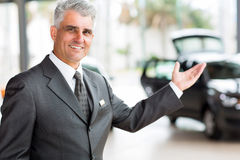 Senior vehicle salesman Stock Images