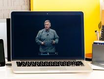 Senior vice president of Apple Philip Schiller speaking to audi Royalty Free Stock Photography