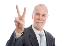 Senior with victory sign Stock Photography