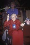 Senior w wózku inwalidzkim przy Republikańską Krajową konwencją w 1996, San Diego, CA fotografia royalty free