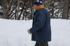 Senior walk on a snow storm. Senior walks on a snow storm in rural road stock images