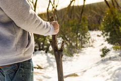 Senior Man Walking Stick Stock Images