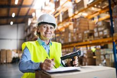 Senior warehouse woman worker with barcode scanner. Stock Photography