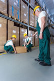 Senior warehouse worker controlling young co-workers stock photos