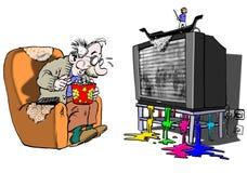 Senior watching TV Royalty Free Stock Image