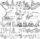 Senior welfare. hand drawn illustrations. Stock Photography