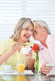 Senior whispering secret into Stock Photo