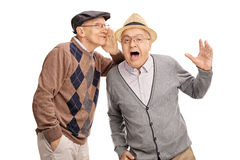 Senior whispering something to his friend Stock Photography